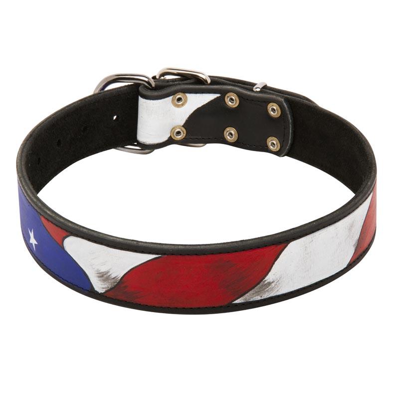 Swiss Flag Dog Collar Leather