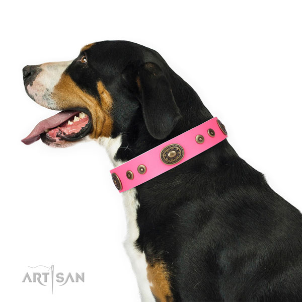 Stylish studded genuine leather dog collar for easy wearing