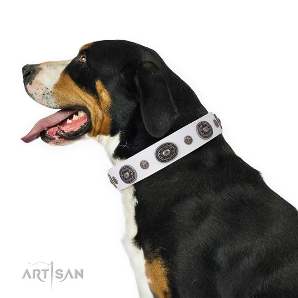 Natural leather dog collar with rust-proof buckle and D-ring for comfy wearing