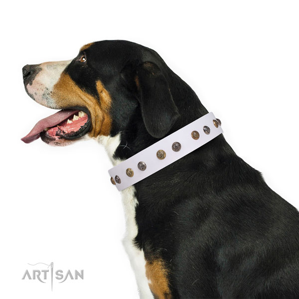 Natural leather dog collar with corrosion proof buckle and D-ring for stylish walking
