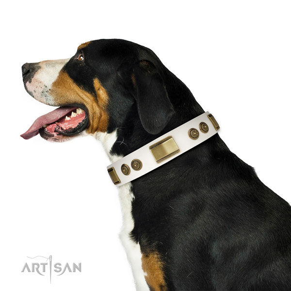 Top notch comfy wearing dog collar of natural leather