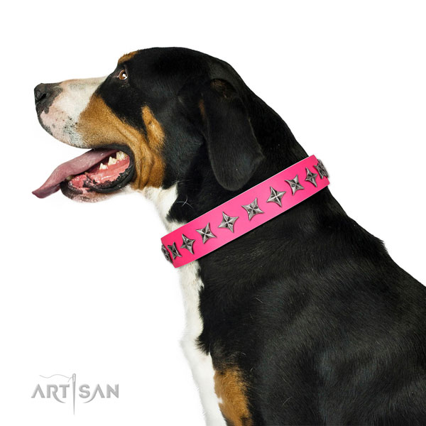 High quality full grain genuine leather dog collar with stylish studs