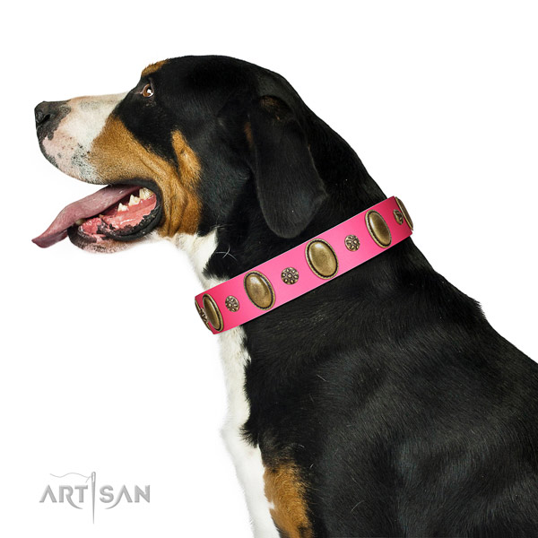Soft to touch full grain leather dog collar with corrosion resistant traditional buckle