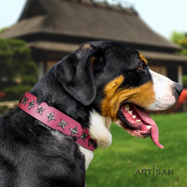 Swiss Mountain comfortable wearing full grain leather collar with adornments for your pet