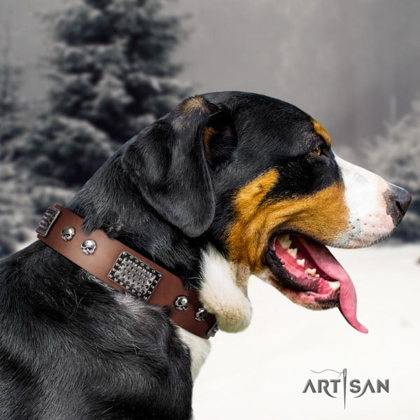 Swiss Mountain comfortable wearing full grain natural leather collar with decorations for your four-legged friend