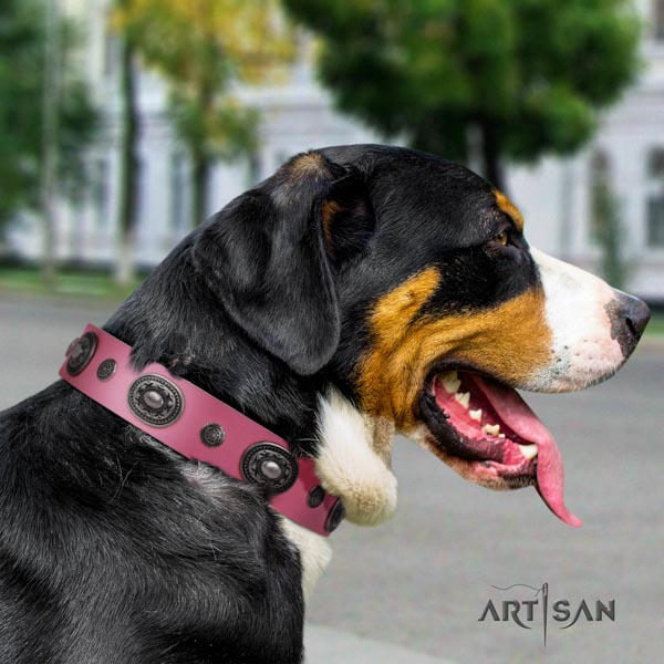 Swiss Mountain stylish walking genuine leather collar with decorations for your canine