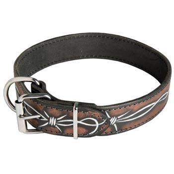Swiss Mountain Dog Collar Leather Handmade Painted in Barbed Wire for Walking Dog