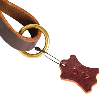 Leather Pull Tab for Swiss Mountain Dog with O-ring for Leash Attachment