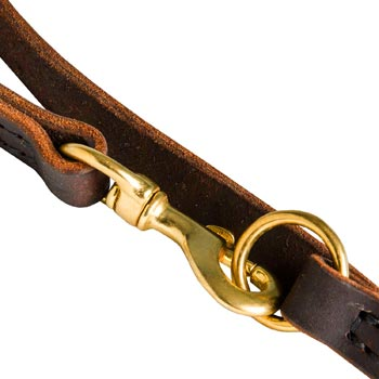 Swiss Mountain Dog Leather Leash with Brass Snap Hook and O-ring