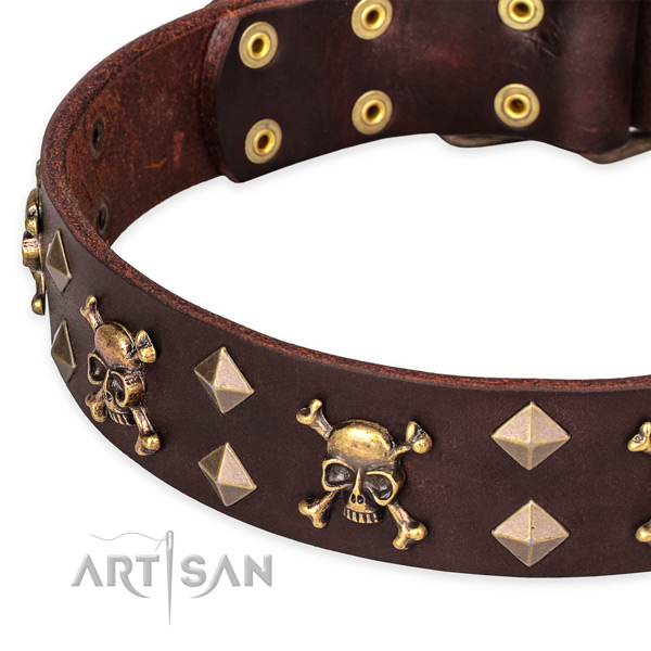 Comfortable wearing adorned dog collar of finest quality genuine leather
