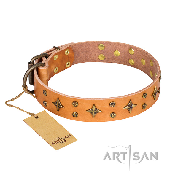 Comfortable wearing dog collar of fine quality full grain natural leather with studs