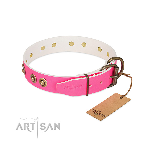 Natural genuine leather dog collar with rust-proof buckle and adornments