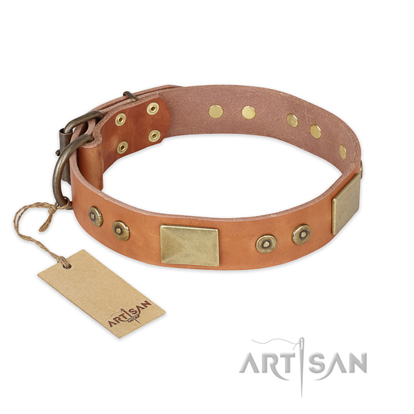 Easy to adjust full grain natural leather dog collar for fancy walking