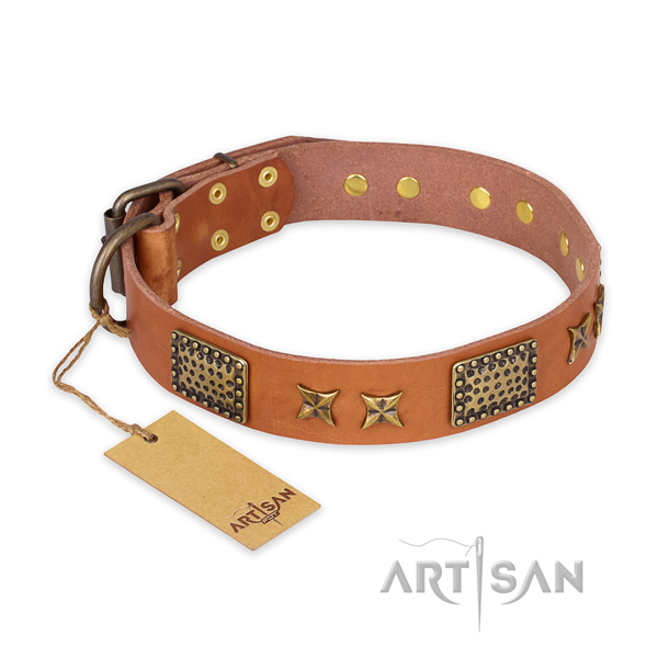 Exquisite natural genuine leather dog collar with rust resistant traditional buckle