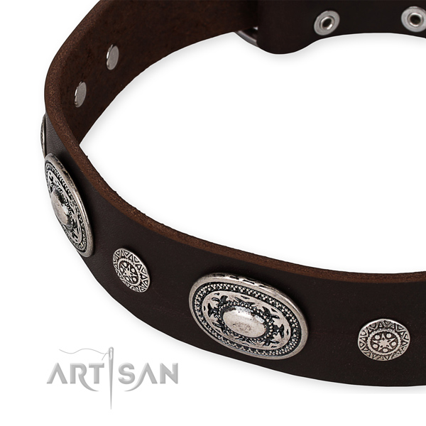 Best quality full grain natural leather dog collar made for your impressive pet