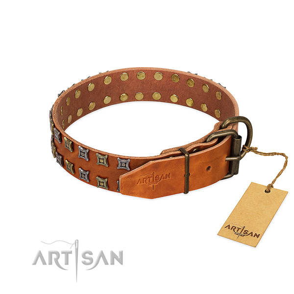 Best quality natural leather dog collar handmade for your dog