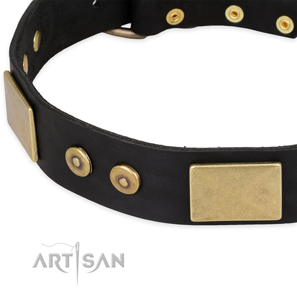 Reliable hardware on full grain leather dog collar for your canine