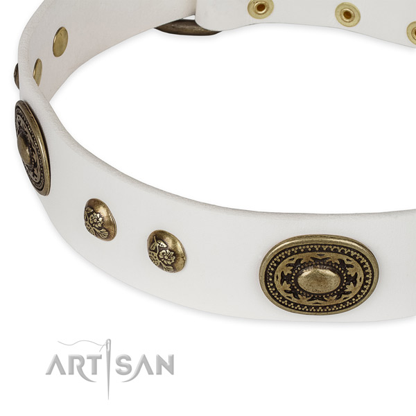 Decorated full grain natural leather collar for your beautiful four-legged friend
