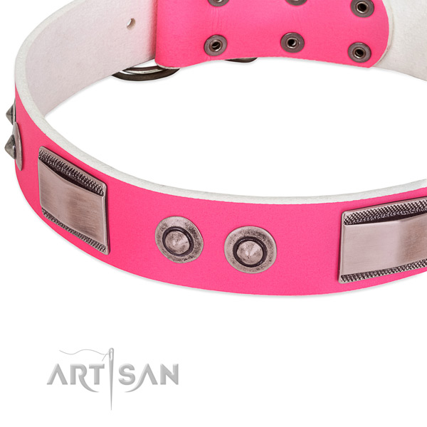 Perfect fit genuine leather collar with embellishments for your four-legged friend