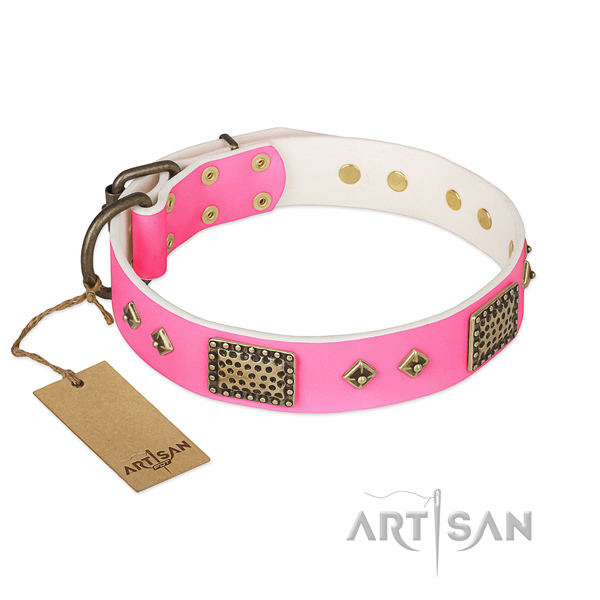 Easy to adjust full grain genuine leather dog collar for stylish walking your canine