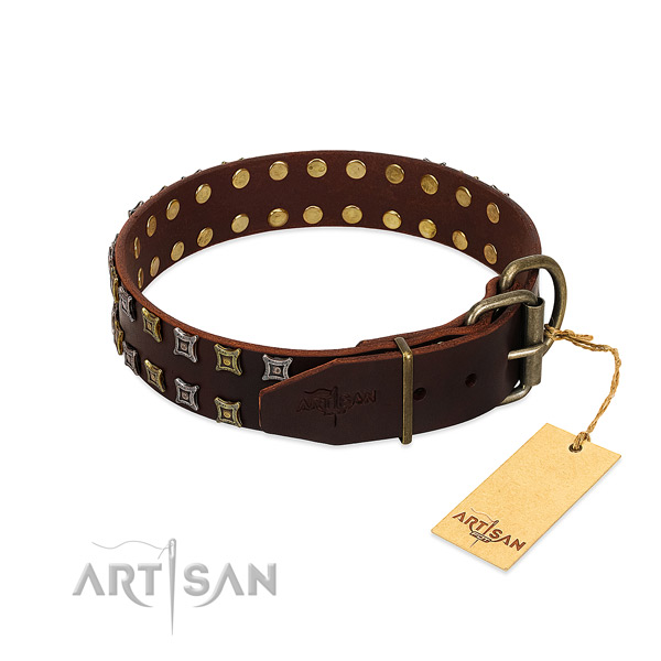Flexible leather dog collar handcrafted for your dog