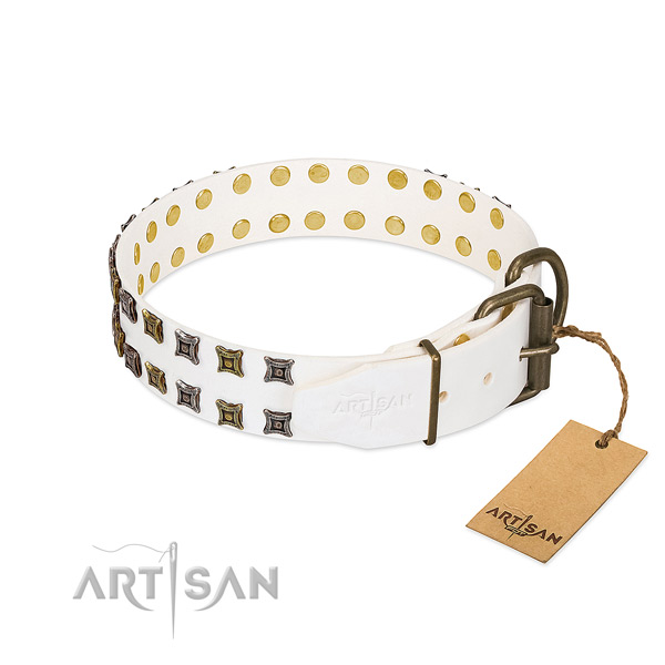 Natural leather collar with inimitable adornments for your doggie