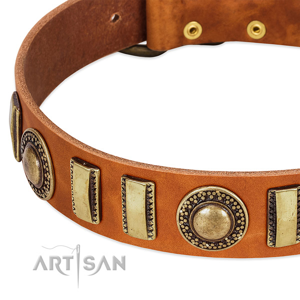 Flexible genuine leather dog collar with corrosion resistant traditional buckle
