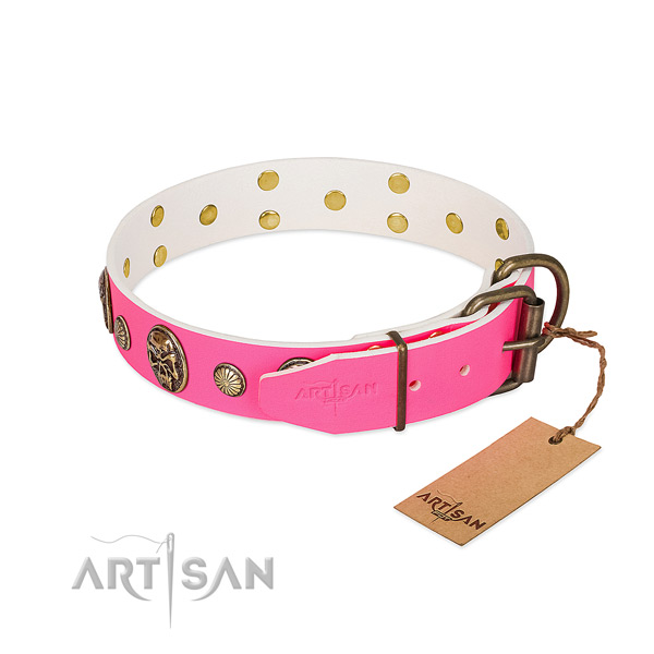 Reliable traditional buckle on full grain leather dog collar for your doggie