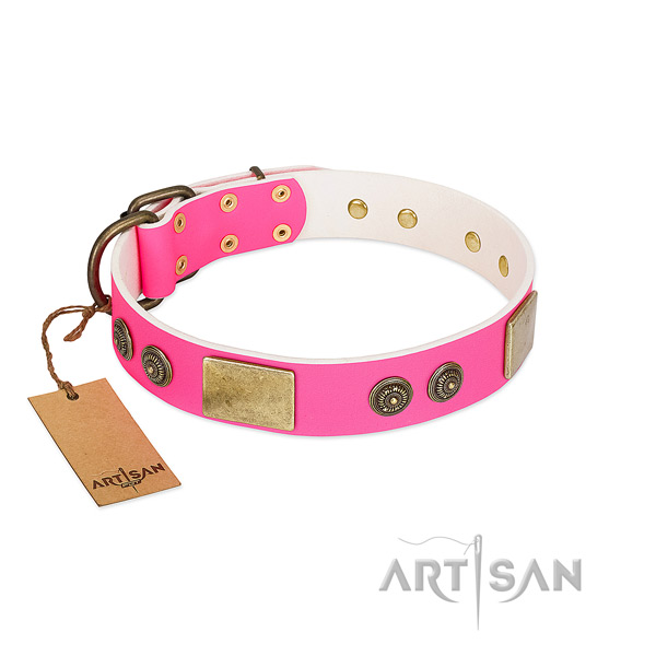 Exquisite full grain genuine leather dog collar for easy wearing