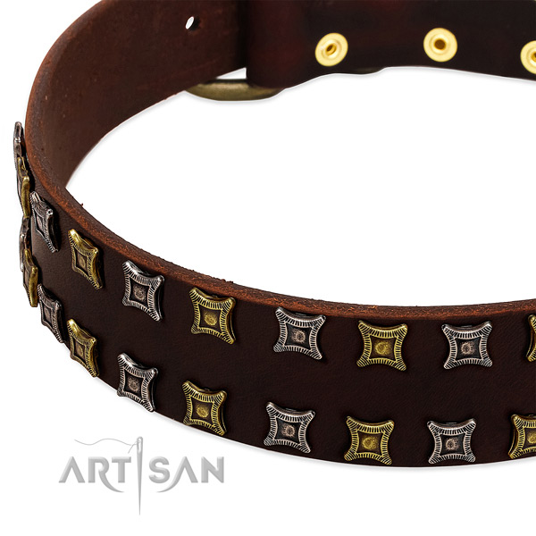 Strong full grain genuine leather dog collar for your impressive dog