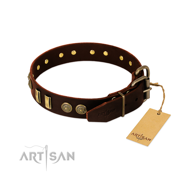 Strong buckle on full grain leather dog collar for your doggie