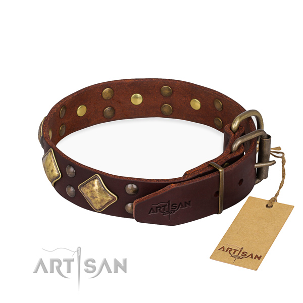 Genuine leather dog collar with unique rust-proof decorations