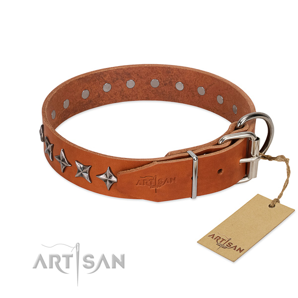 Easy wearing decorated dog collar of best quality leather