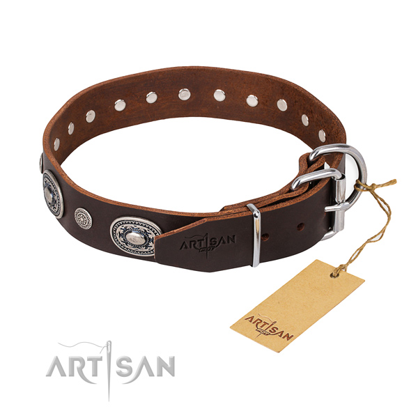 Top rate full grain natural leather dog collar made for comfortable wearing