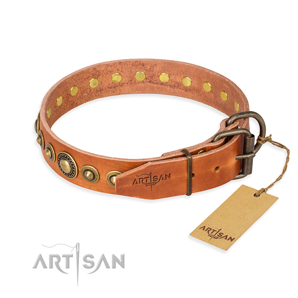 Quality leather dog collar made for handy use