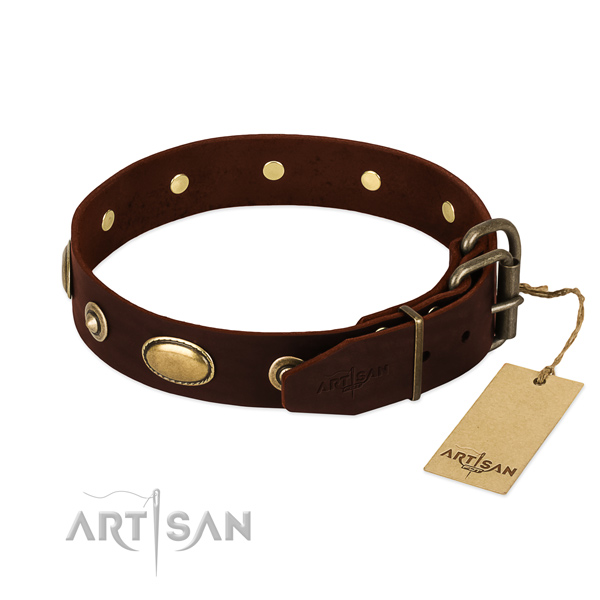 Corrosion proof decorations on genuine leather dog collar for your dog