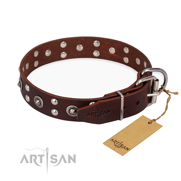 Reliable D-ring on full grain genuine leather collar for your handsome dog