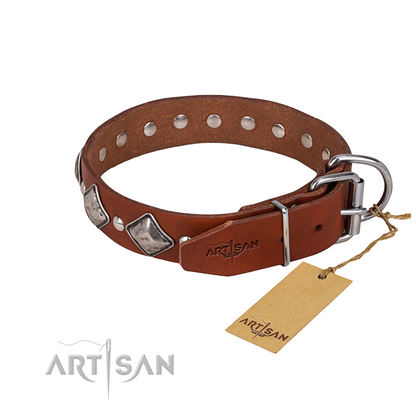 Stylish walking decorated dog collar of top quality leather