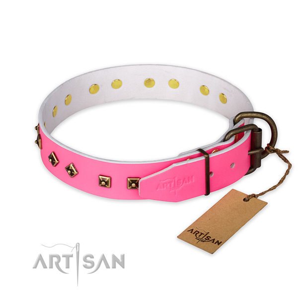 Durable buckle on full grain genuine leather collar for everyday walking your dog