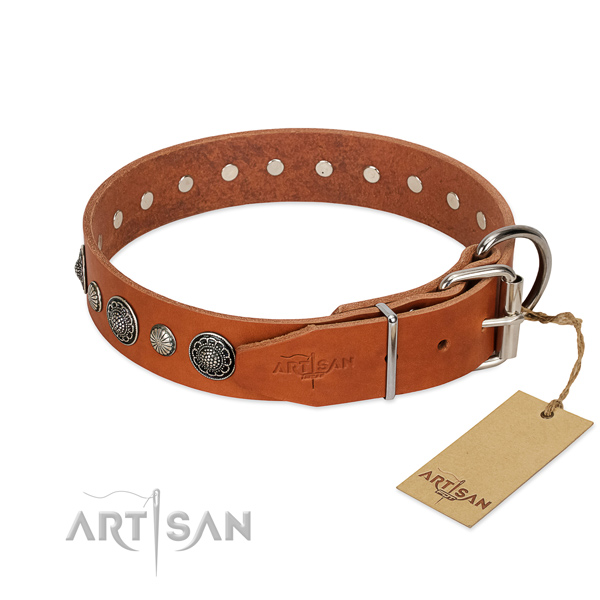 Top notch full grain leather dog collar with rust-proof traditional buckle