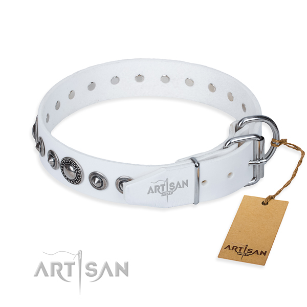 Leather dog collar made of reliable material with reliable adornments