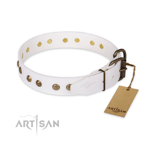 Rust resistant buckle on natural genuine leather collar for your impressive canine