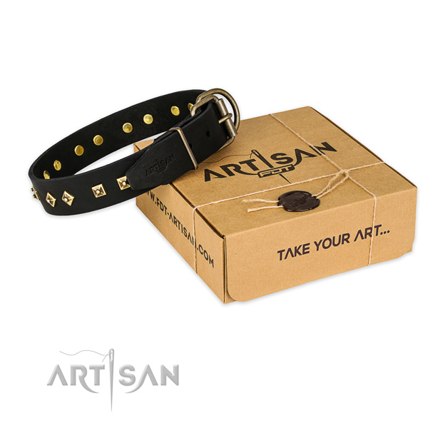 Strong buckle on genuine leather collar for your stylish pet