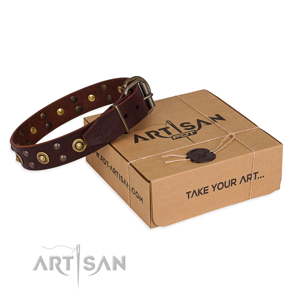 Corrosion proof hardware on full grain genuine leather collar for your attractive pet