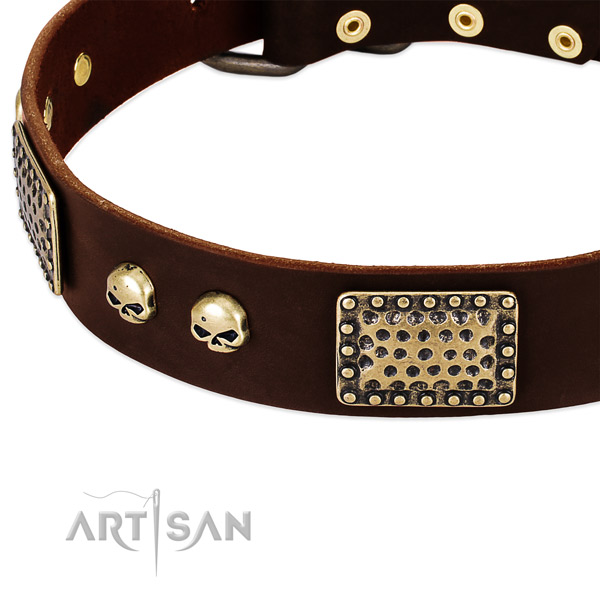 Strong decorations on full grain genuine leather dog collar for your four-legged friend