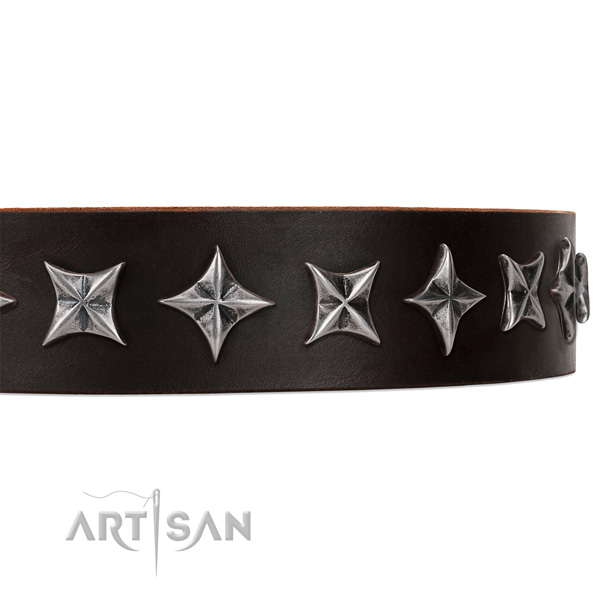 Everyday use embellished dog collar of top notch full grain genuine leather