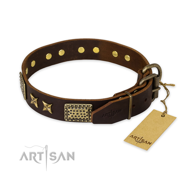 Durable hardware on leather collar for your impressive dog