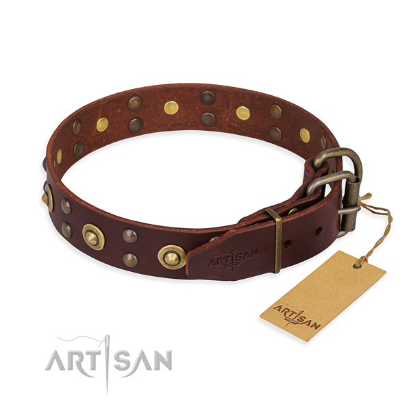 Rust-proof traditional buckle on genuine leather collar for your handsome canine