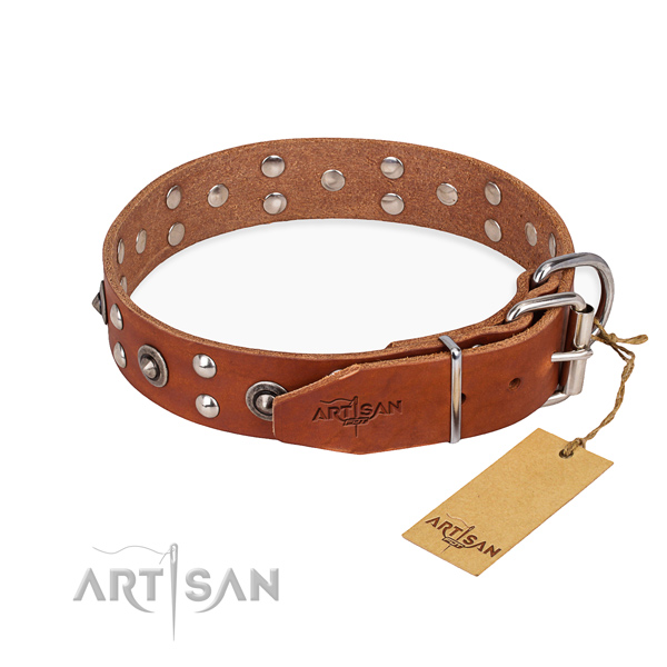 Strong fittings on full grain leather collar for your impressive pet