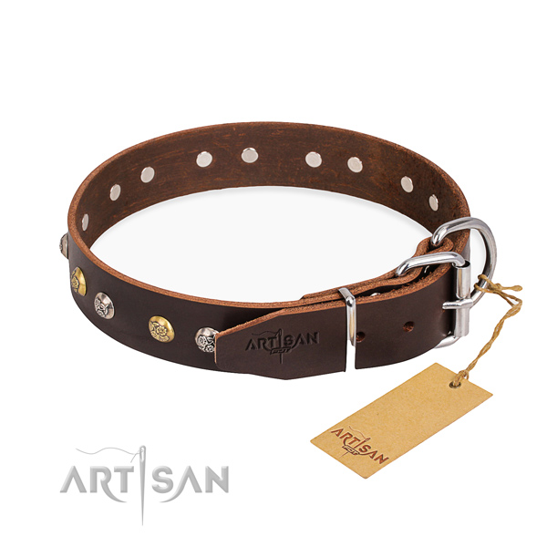 Soft full grain leather dog collar handmade for everyday use